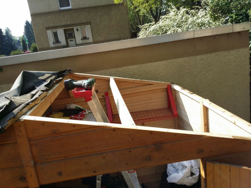 gartenh tte schuppen dach erneuern und verl ngern bauanleitung zum selberbauen 1 2. Black Bedroom Furniture Sets. Home Design Ideas