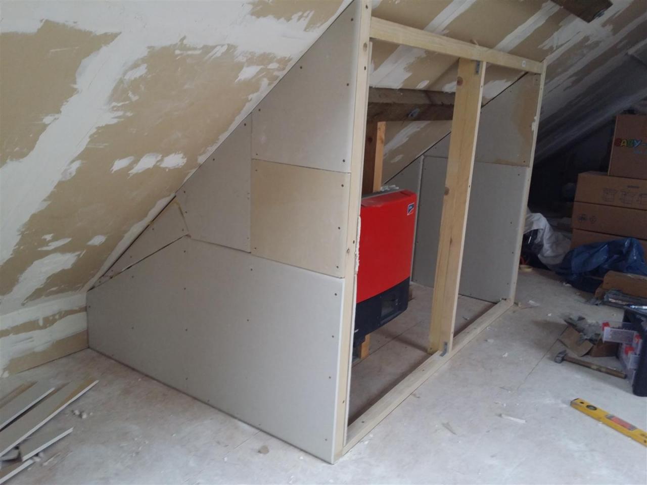 auf dem dachboden eine trockenbau wand/schrank errichten