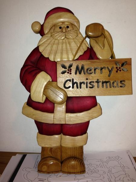 Basteln Mit Holz Weihnachtsmann Und Beleuchteter 12