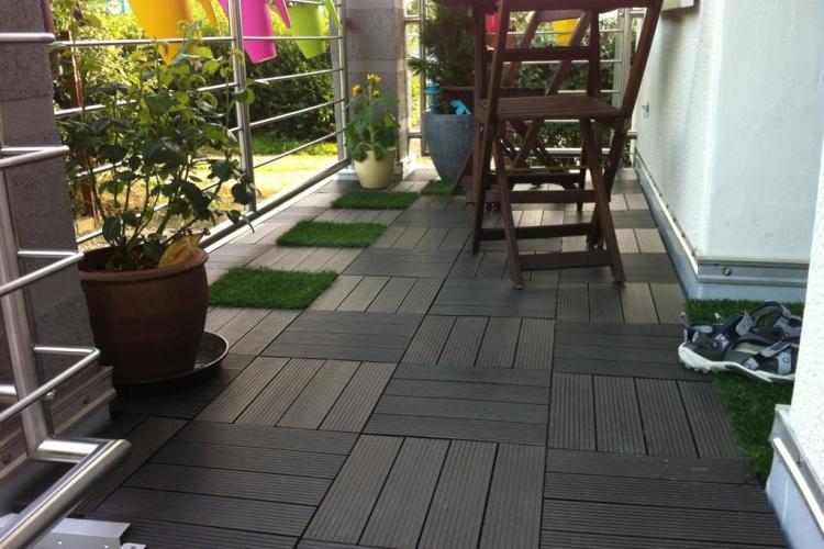 wpc klickfliesen auf dem balkon verlegen bauanleitung zum selberbauen 1 2 deine. Black Bedroom Furniture Sets. Home Design Ideas