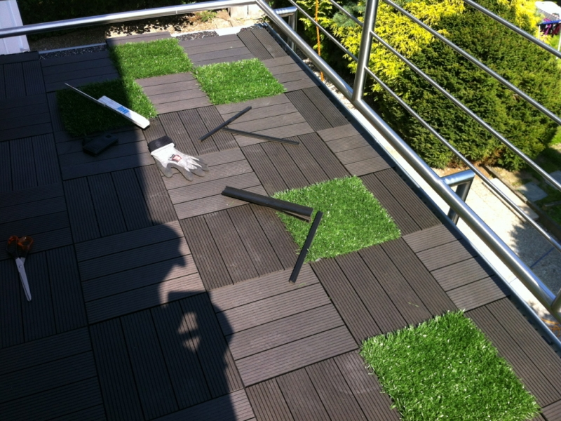 WPCKlickfliesen Auf Dem Balkon Verlegen Bauanleitung Zum - Terrassen klick fliesen 50x50